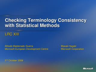Checking Terminology Consistency with Statistical Methods