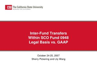 Inter-Fund Transfers  Within SCO Fund 0948  Legal Basis vs. GAAP