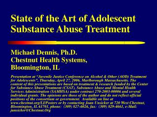 State of the Art of Adolescent Substance Abuse Treatment