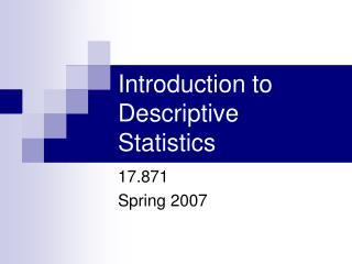 Introduction to Descriptive Statistics