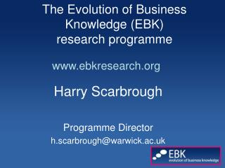 The Evolution of Business Knowledge (EBK)  research programme