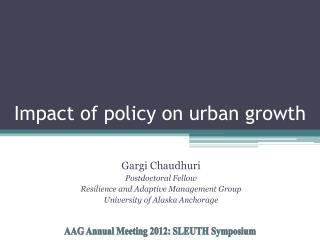 Impact of policy on urban growth