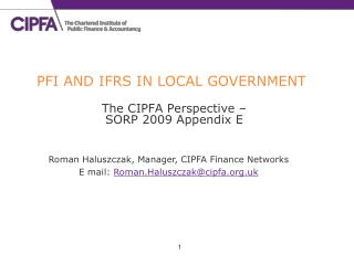 PFI AND IFRS IN LOCAL GOVERNMENT