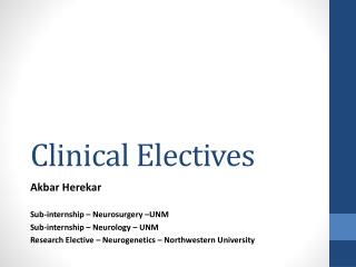 Clinical Electives