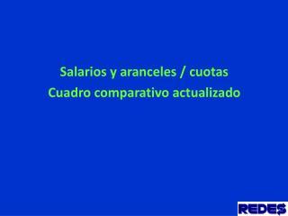 Salarios y aranceles / cuotas Cuadro comparativo actualizado