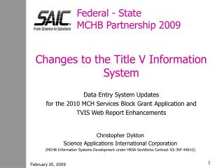 Federal - State  MCHB Partnership 2009