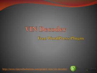 VIN Decoder Plugin for WordPress