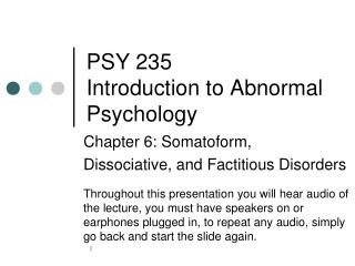 PSY 235 Introduction to Abnormal Psychology