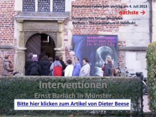Interventionen Ernst Barlach in Münster Bitte hier klicken zum Artikel von Dieter  Beese