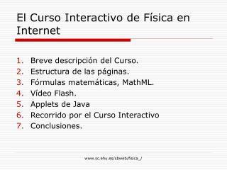 El Curso Interactivo de Física en Internet