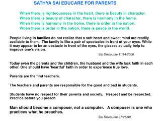 SATHYA SAI EDUCARE FOR PARENTS
