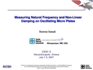 Measuring Natural Frequency and Non-Linear Damping on Oscillating Micro Plates