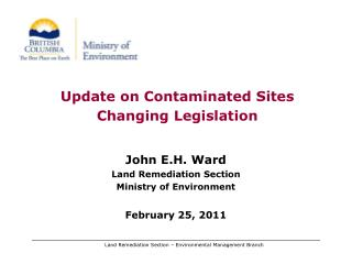 Update on Contaminated Sites Changing Legislation