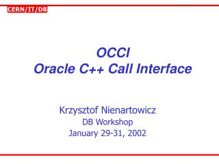 OCCI Oracle C Call Interface