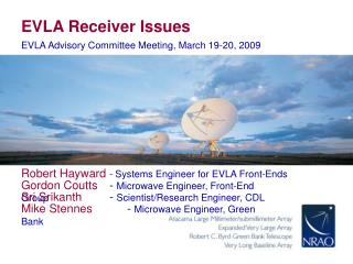 EVLA Receiver Issues