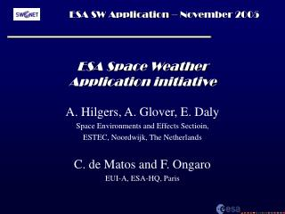 ESA Space Weather Application initiative