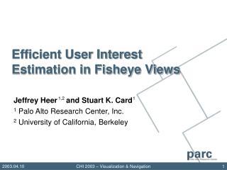 Efficient User Interest Estimation in Fisheye Views