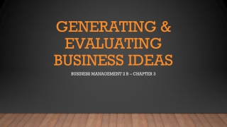 Generating Ideas for a Small Business