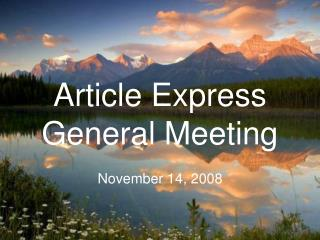 Article Express General Meeting