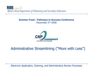 Summer Food – Pathways to Success Conference December 2 nd  2008