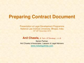 Preparing Contract Document  Presentation at Legal Development Programme National Law Institute University, Bhopal, Indi