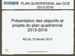 Présentation des objectifs et projets du plan quadriennal  2013-2016