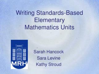 Writing Standards-Based  Elementary  Mathematics Units