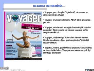 Voyager, gezi dergileri* içinde AB okur oranı en yüksek dergidir. (%90)