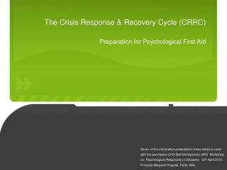 The Crisis Response  Recovery Cycle CRRC Preparation for Psychological First Aid