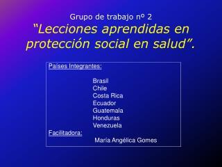 """Grupo de trabajo nº 2 """"Lecciones aprendidas en protección social en salud""""."""