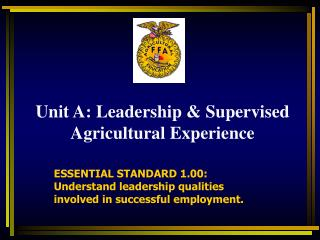 Objective: Summarize the events that have shaped Agricultural Education and FFA