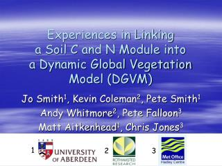 Experiences in Linking  a Soil C and N Module into  a Dynamic Global Vegetation Model (DGVM)