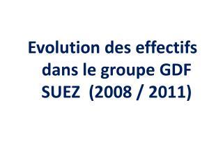 Evolution des effectifs dans le groupe GDF SUEZ  (2008 / 2011)