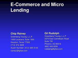 E-Commerce and Micro Lending