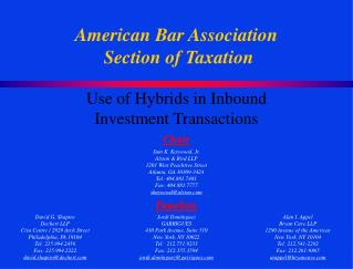 American Bar Association  Section of Taxation