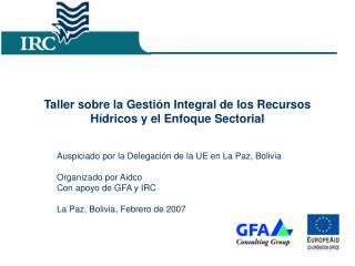 Taller sobre la Gestión Integral de los Recursos Hídricos y el Enfoque Sectorial