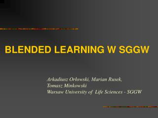 BLENDED LEARNING W SGGW