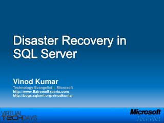 Disaster Recovery in  SQL Server