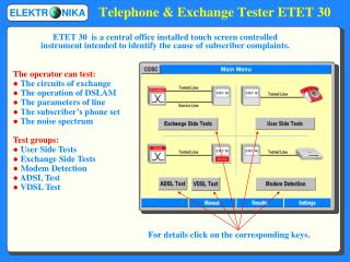 Telephone & Exchange Tester ETET 30