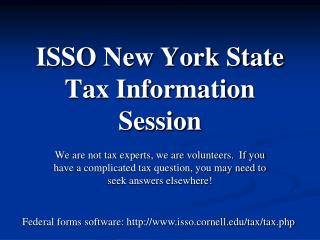 ISSO New York State Tax Information Session