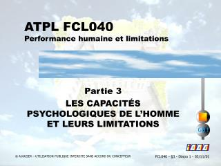 ATPL FCL040 Performance humaine et limitations