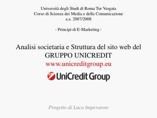 Analisi societaria e Struttura del sito web del GRUPPO UNICREDIT unicreditgroup.eu