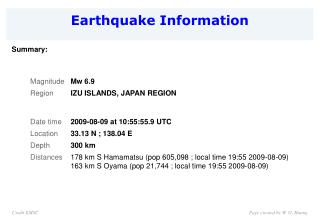 Earthquake Information