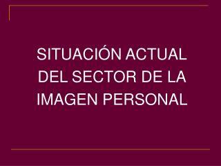 SITUACIÓN ACTUAL  DEL SECTOR DE LA  IMAGEN PERSONAL