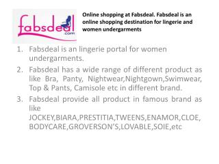 Buy bra online at fabsdeal.fabsdeal is an online shopping