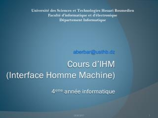 Cours d�IHM  (Interface Homme Machine) 4 eme  ann�e informatique