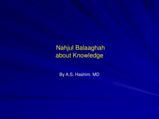 Nahjul Balaaghah about Knowledge