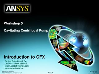 Workshop 5 Cavitating Centrifugal Pump