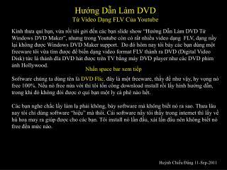 Hướng Dẫn Làm DVD  Từ Video Dạng FLV Của Youtube