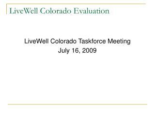 LiveWell Colorado Evaluation